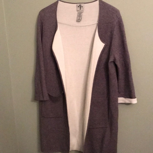 Rain & Rose grey and white long open front sweater